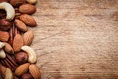 image of mixed nut  - Background texture of assorted mixed nuts including cashew nuts - JPG