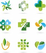 stock photo of chiropractic  - Natural Alternative Herbal Medicine and Healthcare icons and element set - JPG