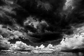 stock photo of hurricane wind  - Apocaliptic stormy sky background - JPG