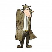 picture of trench coat  - cartoon man in hat and trench coat - JPG