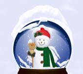 winter snowman in snow globe