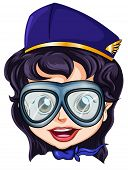stock photo of air hostess  - Illustration of a head of an air hostess on a white background - JPG