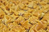 foto of phyllo dough  - baklava delicious oriental desert with nuts and honey syrup  - JPG