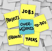 stock photo of tasks  - Overworked word sticky note projects errands tasks jobs to - JPG