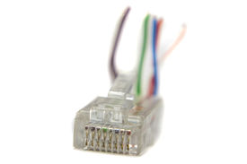 picture of cat5  - Ethernet rj45 conector for cat5 cable on white background - JPG