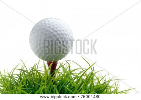 Golf ball on green grass, selective focus