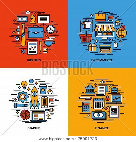 Flat Line Icons Set Of Business, E-commerce, Startup, Finance. Creative Design Elements For Websites