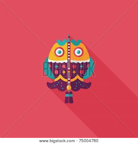 Chinese New Year Flat Icon With Long Shadow,eps, Chinese Fish Lucky Pendant Means