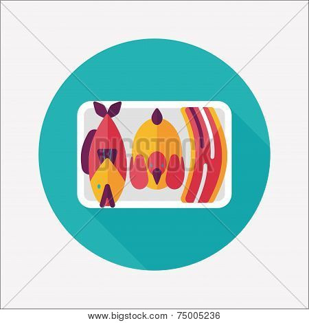 Chinese New Year Flat Icon With Long Shadow,eps10, Worship Offerings Are Three Livestock Fish, Chick