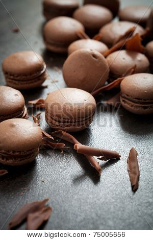 Homemade double chocolate macaroons with chocolate filling