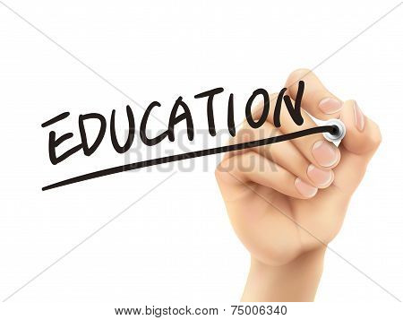 Education Word Written By 3D Hand