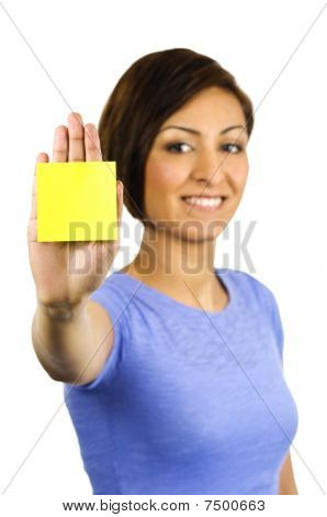 Young Woman Has A Post Note Stuck On Her Hand.