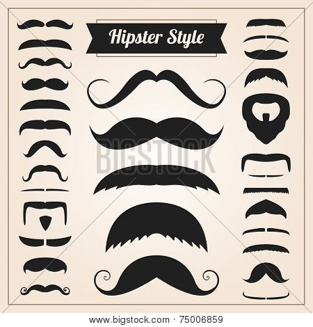 Hipster style mustache vector set collection