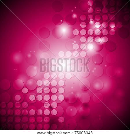 Shiny crimson tech background with circles. Vector illustration