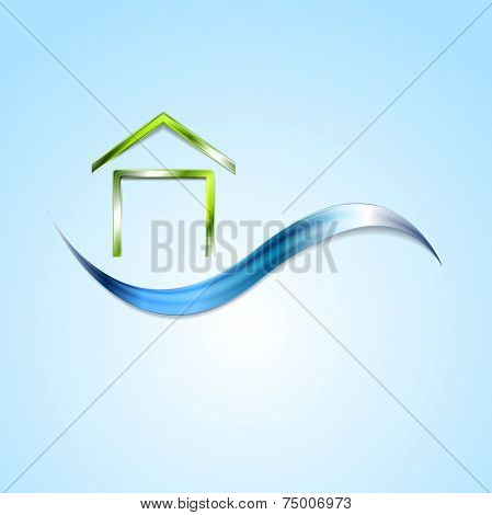 Bright house logo and wave design. Vector background