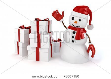 3d happy snowman with santa hat; red gloves and presents on white background