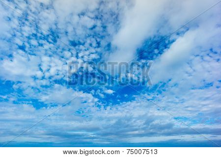 Beautiful blue sky with spindrift clouds