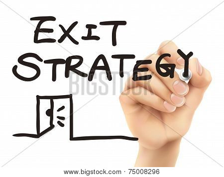 Exit Strategy Words Written By 3D Hand