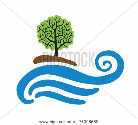 Tree near the water, vector logo illustration