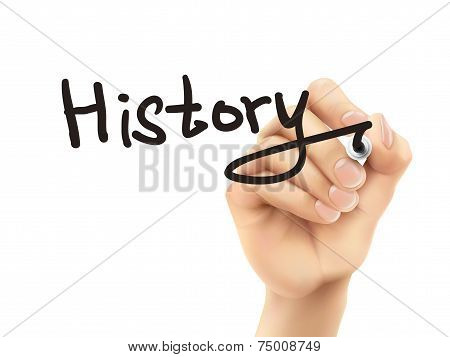 History Word Written By 3D Hand