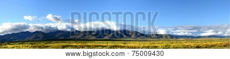 Panoramic view of the mountains and plains of northern New Mexico taken in the autumn