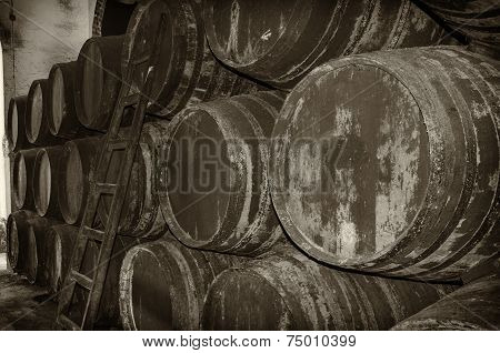Old Barrels For Wine Or Whiskey