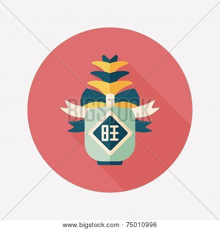 Chinese New Year Flat Icon With Long Shadow,eps10, When You Send Pineapple For Your Friends In Chine