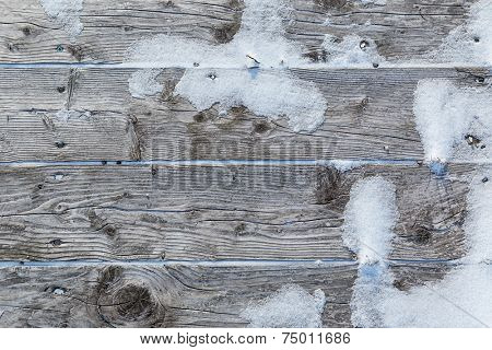 Old wooden background with snow and ice.