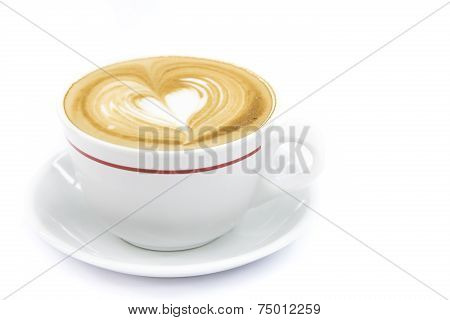 Cup Of Coffee Art Latte Or Cappuccino