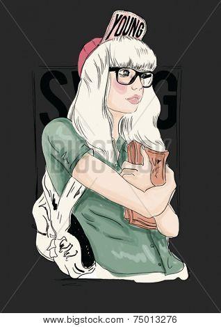 fashion school illustration girl