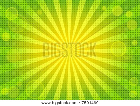 Abstract bright green background with rays