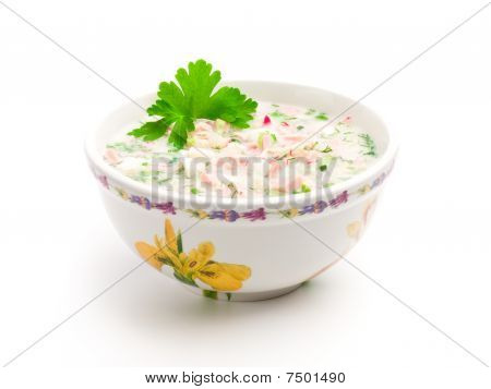 Bowl Of Cold Soup With Chopped Vegetables, Potherbs, Meat And Kvass