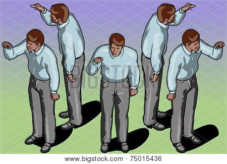 Isometric Standing Man Indicating Pose