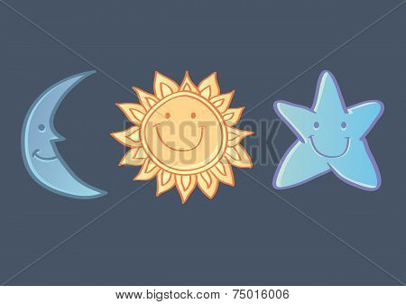 Sun, Moon And Star Icons Isolated On Dark Blue Background