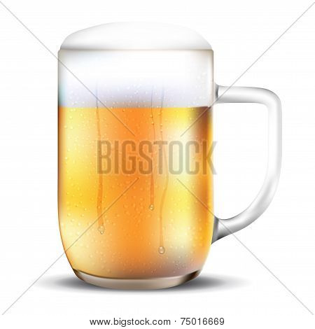 Dewy Glass Of Beer On White Background
