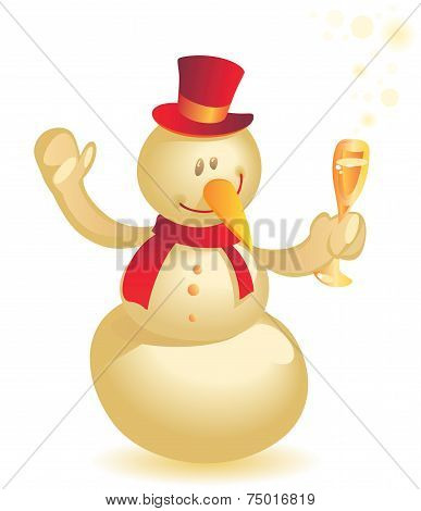 Snowman With Wineglass Gold