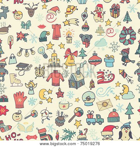 Christmas,new year icons seamless pattern. Colored Doodle