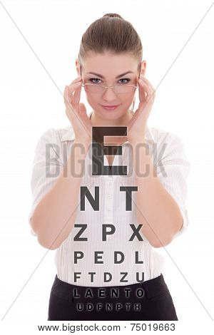 Attractive Business Woman In Glasses And Eye Test Chart Isolated On White