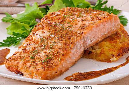 Baked salmon with honey-mustard sauce and potato gratin