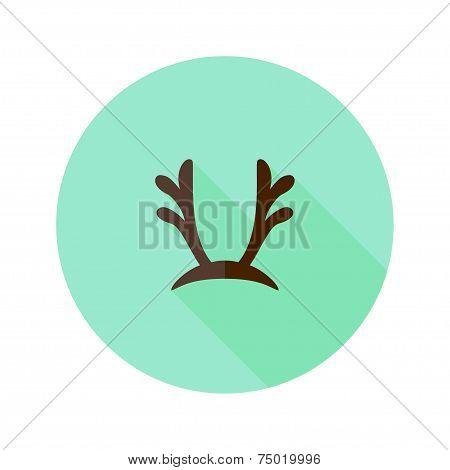 Christmas Antlers Flat Icon