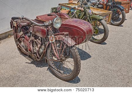 Old Sidecar Motorcycle Indian Scout Side 600 Cc (1923)