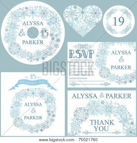 Winter wedding template set.Snowflakes wreath