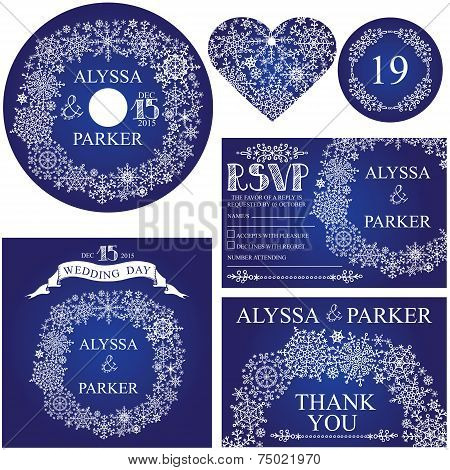 Winter wedding template set.Snowflakes wreath