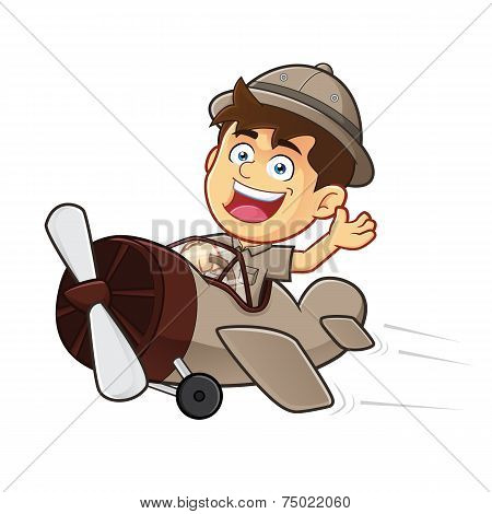 Boy Scout or Explorer Boy Riding Airplane