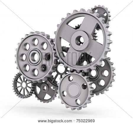 Metal Gears Isolated On White Background