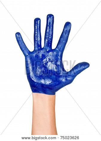 image of an open hand blue with blue stripes and a pretty smal