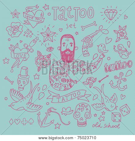 Stylish tattoo vector set. Cute vintage collection of tattoo - heart, pigeon, anchor, diamond, flower, dice, pistol and others