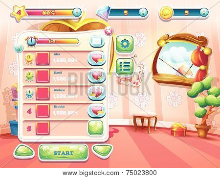 computer game with a loading background bedroom princess, user interface and various element. Set 1.