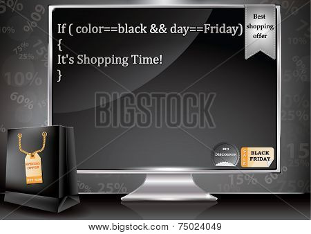 Black Friday sale poster for electronic shops