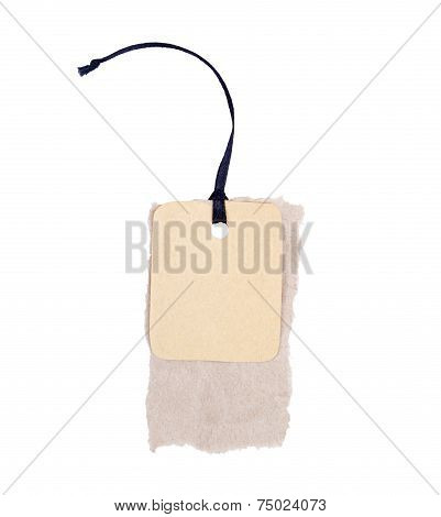 Empty label or price tag with cord, isolated on white background